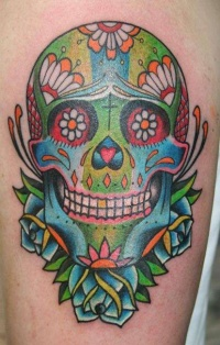 Coloured mexican sugar skull tattoo