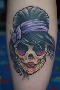 Cute sugar skull with black hair tattoo