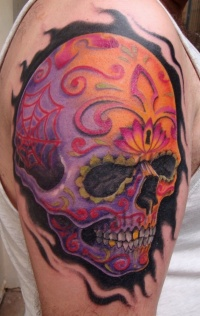 Day of the dead sugar skull tattoo