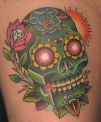 Green sugar skull with rose and diamond tattoo