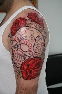 New style sugar skull tattoo