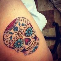 Sugar skull mexican tattoo
